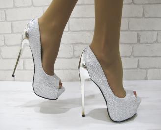 Дамски елегантни обувки текстил сребристи EMCF-23098