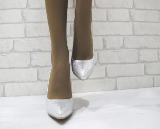 Дамски елегантни обувки сребристи еко кожа PLNV-23283