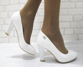 Дамски елегантни обувки бели еко кожа LTQF-23287
