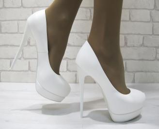 Дамски елегантни обувки бели  еко кожа WJHI-23291
