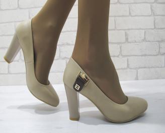 Дамски елегантни обувки  бежови  еко кожа QJXY-23293