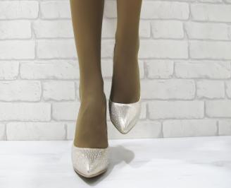 Дамски елегантни обувки златисти  еко кожа TBTD-23298
