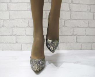 Дамски елегантни обувки тъмно злато  еко кожа GNTD-23301