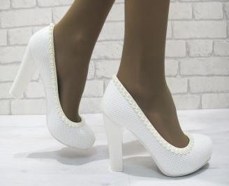 Дамски елегантни обувки бели  еко кожа AKOL-23304