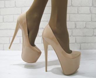 Дамски елегантни обувки  розови еко кожа BNIJ-23309
