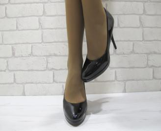 Дамски елегантни обувки  черни еко кожа/лак EYMK-23312