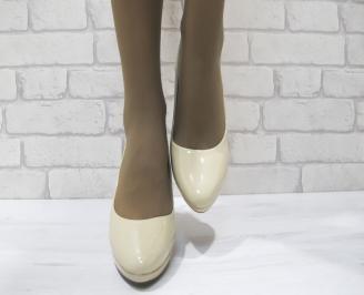 Дамски елегантни обувки  бежови еко кожа/лак PCWS-23315