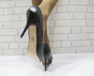 Дамски елегантни обувки  черни еко кожа ZDZH-23316