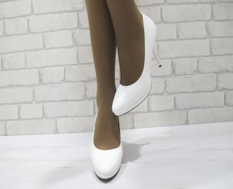 Дамски елегантни обувки  бели еко кожа SHHO-23317