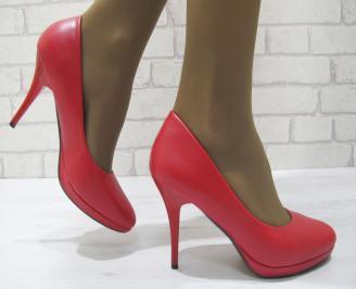 Дамски елегантни обувки  червени еко кожа AGRH-23318