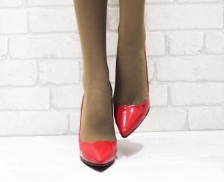 Дамски елегантни обувки на ток еко кожа/лак червени TXJD-23333