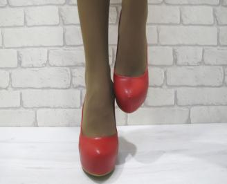 Дамски елегантни обувки  червени еко кожа YUZQ-23336