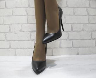 Дамски елегантни обувки на ток черни еко кожа HPJE-23350