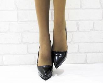 Дамски елегантни обувки еко кожа/лак черни HNIU-23359