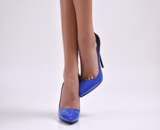 Дамски елегантни обувки еко кожа/лак тъмно сини AEOQ-23461
