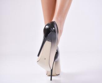 Дамски елегантни обувки еко кожа/лак бежови LXCP-23462