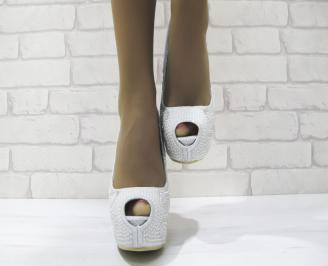 Дамски елегантни обувки еко кожа сребристи QZKA-23544