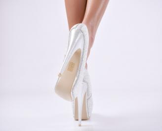 Дамски елегантни обувки еко кожа сребристи XICB-23545