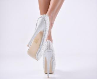 Дамски елегантни обувки еко кожа сребристи FNHB-23546