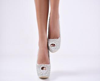 Дамски елегантни обувки еко кожа сребристи ECAN-23548