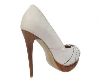 Дамски  елегантни обувки естествена кожа бели XCRP-11471