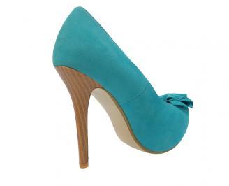 Дамски елегантни обувки еко велур сини AYSG-11477