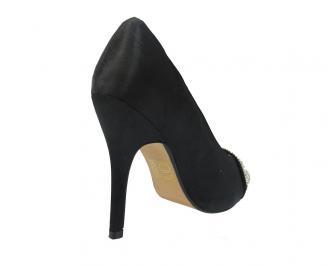 Дамски елегантни обувки сатен черни IKKT-11479