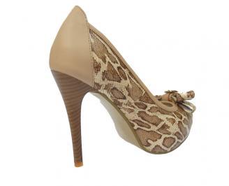 Дамски елегантни обувки еко кожа кафяви IJVV-11480