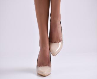 Дамски елегантни обувки еко кожа/лак бежови XOOK-25216