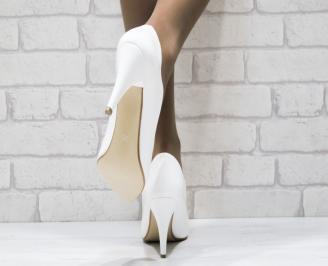 Дамски елегантни обувки еко кожа/лак бели 3