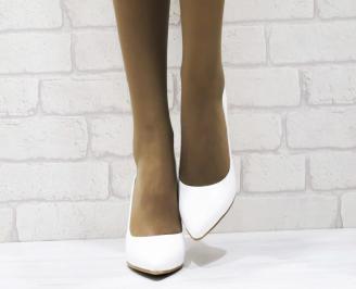 Дамски елегантни обувки еко кожа/лак бели 4