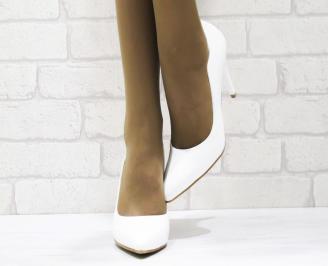 Дамски елегантни обувки еко кожа/лак бели 5