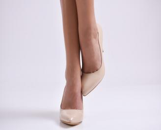 Дамски елегантни обувки еко кожа/лак бежови LPAM-25303