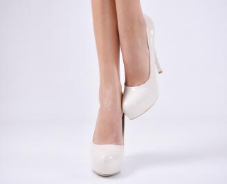 Дамски елегантни обувки еко кожа/лак бежови JBFV-25370