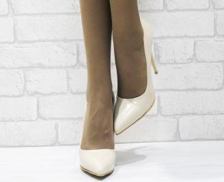 Дамски елегантни обувки еко кожа/лак бежови METJ-25491