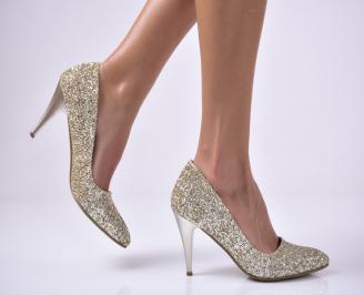 Дамски елегантни обувки еко кожа/брокат златисти UISS-25696