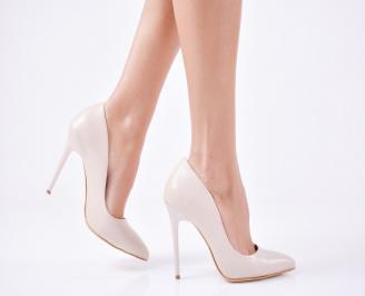 Дамски елегантни обувки еко кожа бежови LOKP-25698