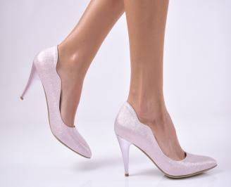 Дамски елегантни обувки еко кожа/текстил пудра GYTO-25699