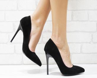Дамски елегантни обувки еко набук черни GCLV-25700