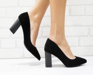 Дамски елегантни обувки еко набук черни MDOQ-25702