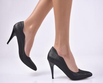Дамски елегантни обувки еко кожа/текстил черни ESPB-25704