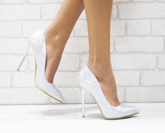 Дамски елегантни обувки еко кожа/лак сребристи RGXA-25707