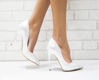 Дамски елегантни обувки еко кожа сребристи KHCD-25708
