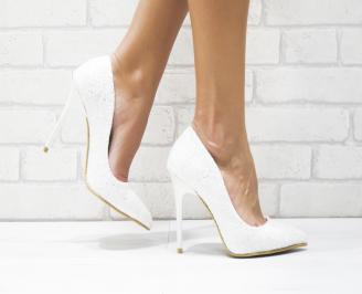 Дамски елегантни обувки еко кожа /брокат бели ITSY-25711