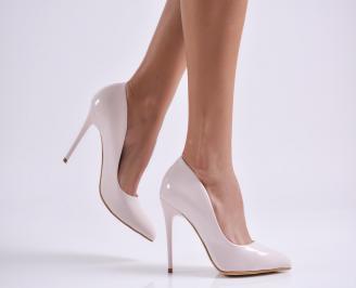 Дамски елегантни обувки еко кожа/лак пудра NYSJ-25712