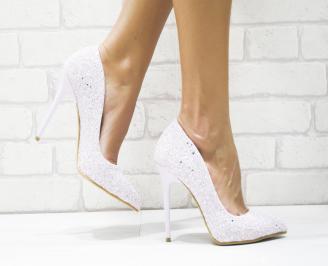 Дамски елегантни обувки еко кожа /брокат пудра KADP-25713