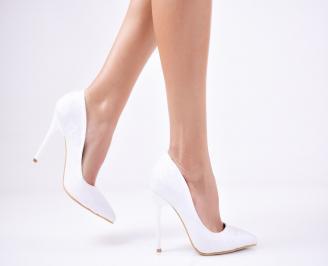 Дамски елегантни обувки еко кожа /дантела бели HSXK-25714