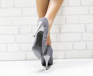 Дамски елегантни обувки еко кожа/ брокат сребристи 3
