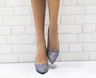 Дамски елегантни обувки еко кожа/ брокат сребристи 4