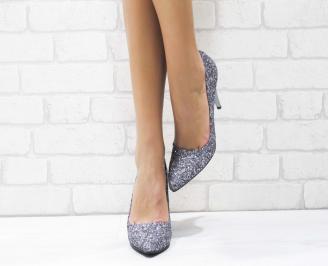 Дамски елегантни обувки еко кожа/ брокат сребристи 5
